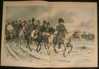 Napoleon Retreat Allegory Republican Party 1890 antique color lithograph print