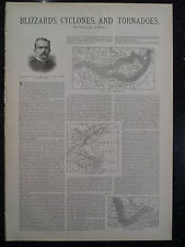 Blizzards Cyclones & Tornadoes Hurricanes Weather Print Harper's Weekly 1888