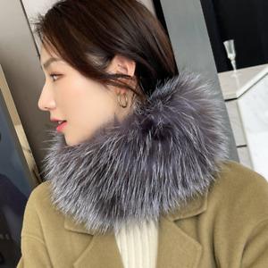 Women's Neck Warmer Collar Real Fox Fur Scarf Winter Warm Scarves Wraps Stole