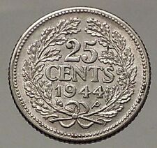 1944 Netherlands Queen WILHELMINA 25 Cents Wreath Authentic Silver Coin i57798