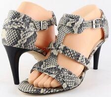 $175 VIA SPIGA HILDA Black Snake Shoes T Strap Sandals Open Toe Pumps Heels 8.5