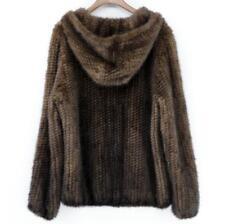 Piel de visón real de punto para mujer Casual De Invierno Abrigo Prendas de abrigo chaqueta con capucha con cremallera