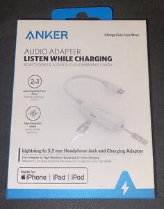 """Anker 2"""" Lightning to 3.5mm Audio & Lightning Charging Adapter - White"""