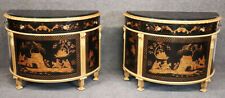 Rare Pair Chinoiserie Japanned Painted Gilded Custom Commodes Buffets Cabinets