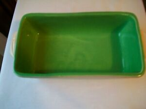 "VINTAGE MCCOY POTTERY LOAF PAN BAKING DISH 10"" WHITE W/ GREEN INTERIOR HTF"