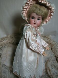 """Antique German Doll A M 390 Bisque Head Doll  Composition Body 15"""""""