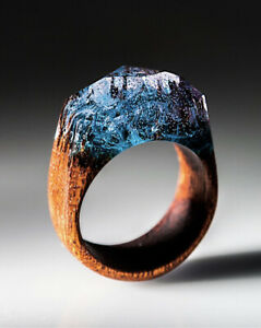 Brown resin ring size 10 Brown ring Unisex ring Resin jewellery