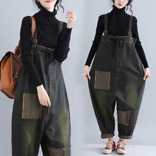 Womens Casual Denim Overalls Bib Pants Baggy Jumpsuits Rompers Jeans Loose Plus