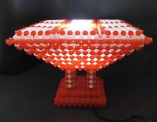 Handmade Beaded Table Lamp Red and White Beads Pedestal Nightstand Light
