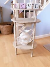 Handpainted Aged Wash Stand Drawer Shelf Telephone Console Table Country Grey
