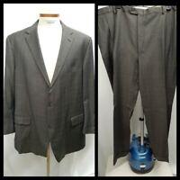 Hart Schaffner Marx Men's Suit 52 Long Wool Micro Glen Plaid Gray Blue USA