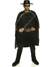 Mens Zorro Fancy Dress Costume Deluxe Muscle Chest Superhero Bandit Zorro Outfit