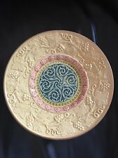 """ANTIQUE MAJOLICA GERMAN 7-3/4"""" PLATE MARKED G S ZELL Yellow Grape Vine Scroll 5"""