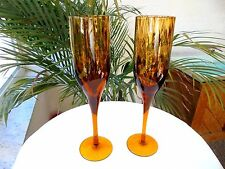 Set of 2 Dark Amber Tall Champagne Flutes