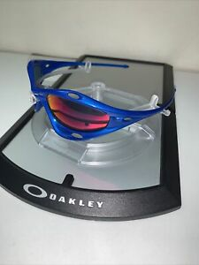 Oakley Racing Jacket Vintage Blue w/ + Red Iridium Lenses Frame Only See Pics