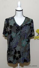 White Stag Women's Top Short Sleeve Size Large 12/14 Black Green Purple Gold