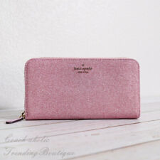 NWT Kate Spade New York Lola Glitter Continental Wallet in Rose Pink