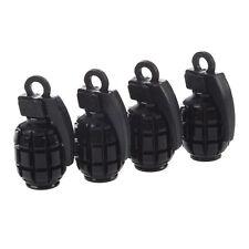 4 Metall Kunststoff reine schwarz Granate Form Auto Reifen Ventilkappe P9K2