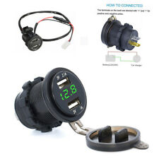 12V Universal Motorcycle 3.1A Dual USB Charger Socket and Green LED Voltmeter