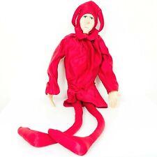 "Mattel Emotions Jester Long Leg Plush 40"" VTG Red Hat Stuffed Toy"