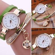 s* Women's Ladies Faux Leather Rhinestone Analog Quartz Wrist Watches Green