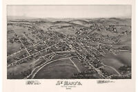 St. Mary's, Elk County, Pennsylvania. Antique Birdseye Map; 1895