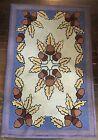 Vintage Rectangular Hand Hooked Rug w/ Acorn Design, Blue, Brown, Burgundy