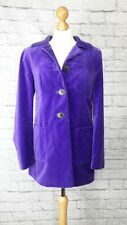 Boden Purple Velvet Fitted Coat Jacket size 12