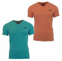 Superdry Mens New Orange Label V Neck Short Sleeve T Shirt Turquoise Coral Red