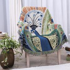 Peacock KILIM rugs Aztec design cotton TAPESTRY tassel throw sofa blanket ethnic