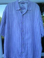 Tommy Bahama Relax Men Short Sleeve Linen Purple Striped Casual Shirt Medium EUC
