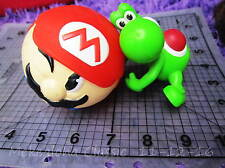 2pc SET Yoshi Green TOY Figure w Nintendo Mario Ball