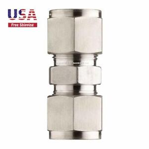"Steel Compression Tube 3/8"" Tube OD Straight Connect Double-Ferrule Fitting"