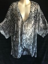 Autograph Ladies PLUS size 20 sheer black/white print kimono drape *BNWT