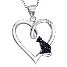 Anhänger schwarze Katze im Herz Sterling Silber 925 mit Kette