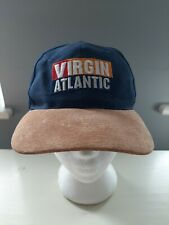 Virgin Atlantic Baseball Cap Rare Navy Blue & Suede Peek