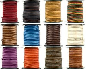 Xsotica® Round Leather Cord 1mm 10 Yards (30 Feet)  Over 65 Colors Available