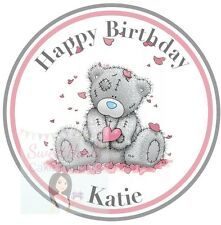 """ME TO YOU BEAR CAKE TOPPER ROUND EDIBLE PRINTED ICING SHEET TATTY TEDDY 7.5"""""""