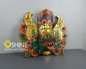 Exclusive Vintage Wall Mask,Antique Mask,Green Balinese Barong Mask,Home Decor