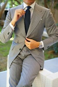 Gray Men's Suit Stripe Party Prom Business Occasion Formal Groom Tuxedo Suits