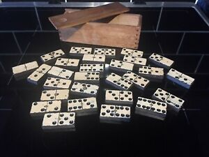 Vintage Dominos Painted Ebony With Brass Spinners Set Of 28 In Wooden Box