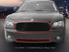 Fits 2005,06,07,08,09,10 Dodge Charger BLACK Billet Grille Grill Combo 2PCs