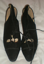 Martinez Valero Black Suede Shoe  open back with string Size  8B