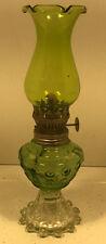 Vintage Green & Clear Glass Mini Lantern/Mini Oil Lamp/Made in Hong Kong