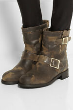 $995 NIB Jimmy Choo Leather Animal Print Motorcycle Boots Shoes Antelope  8,5