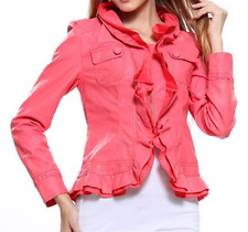 Caroline Morgan Jacket PLUS SIZE 10 Small Coral Pink Leather Look Waterfall BNWT