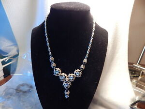 VTG 1950S 60S BOGOFF BLUE CLEAR RHINESTONE NECKLACE SILVER TONE TWO MISSING