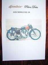 EXCELSIOR PISTON DATA SHEETS (EARLY MODELS 1935 - 1958) HEPOLITE  #2