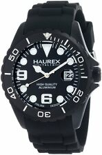 Haurex Italy Men's 1K374UNN Ink Black Rubber Band Aluminum Dial Watch