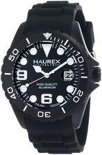 Haurex Italy Men's 1K374UNN Ink Black Rubber Band Aluminum Dial Watch